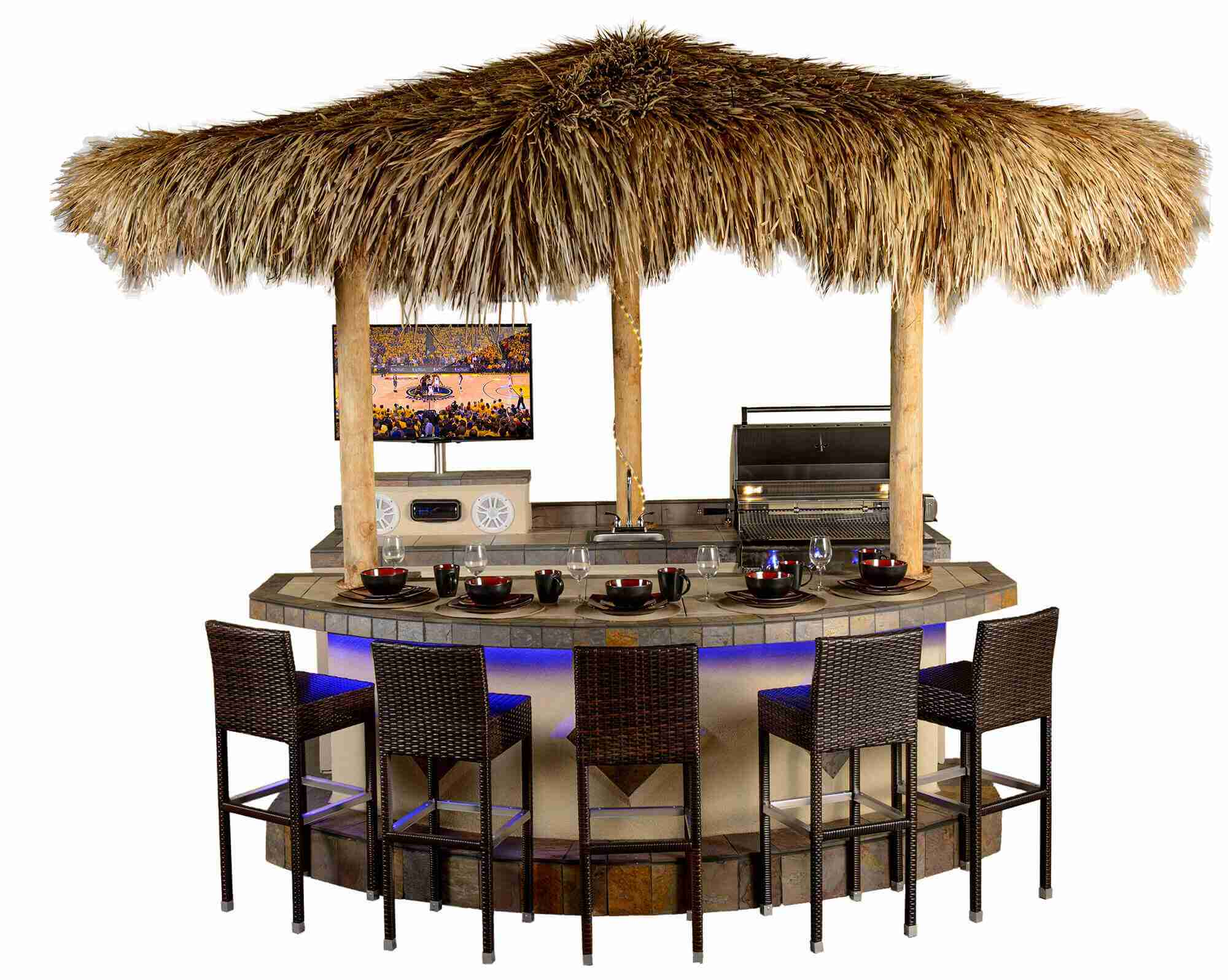 Amazing Paradise Grills Tiki Bar in Pompano Beach showroom