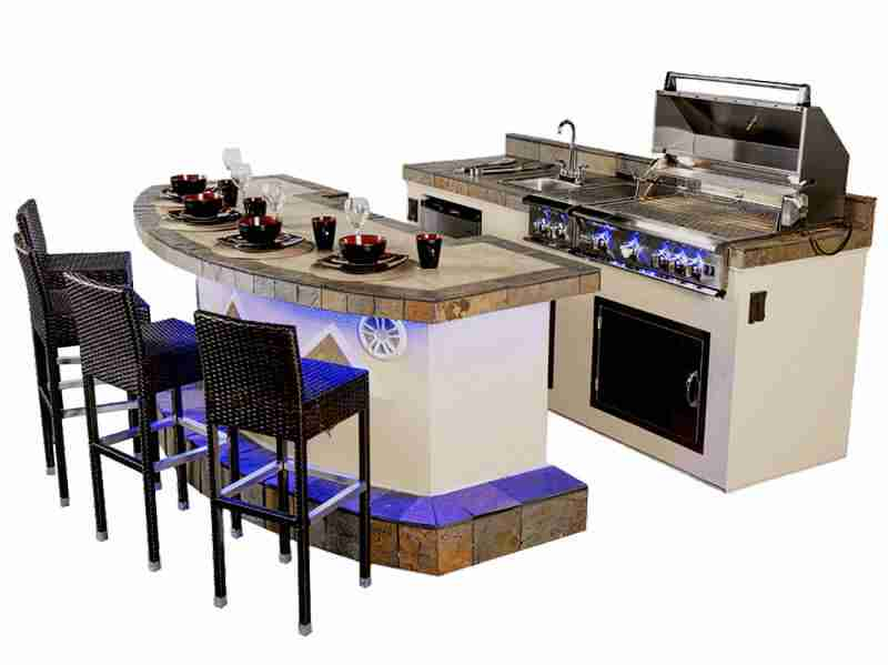 Beautiful outdoor kitchen and LED lighted bar